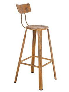 Tabouret haut en bois marron vieilli 44 x 36 x 103 cm