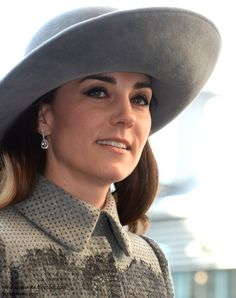 Duchess Kate: UPDATED: Kate in Grey Erdem Coat & Wide-Brimmed John Boyd Hat for Commonwealth Service