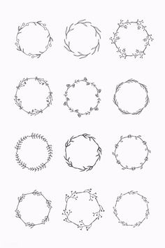Round floral frame element vector set premium image by sasi Bullet Journal Ideas Pages, Bullet Journal Inspiration, Doodle Drawings, Doodle Art, Doodle Frames, Tattoo Drawings, Dragon Tattoo For Women, Wreath Drawing, Floral Drawing