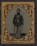 Private George H. Bannister of Company H, 13th New Hampshire Infantry Regiment in sack coat and forage cap with holstered bayonet, cartridge pouch, and bayoneted musket.  Liljenquist Family Collection of Civil War Photographs, LOC.