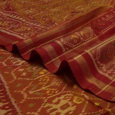 Handwoven Two Tone Mustard Patola Silk Sari with Traditional Motifs 530511730