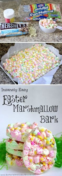 Easter chocolate Marshmallow Bark a recipe to use up those mini marshmallows