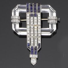 An art deco rock crystal sapphire and diamond brooch, circa 1925 Sold for £2,760