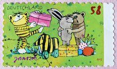 great stamp Germany 58c Happy Easter (Frohe Ostern! Joyeuses Pâques! С Па́схой! Buona Pasqua! Feliz Páscoa! painting by Janosch) timbres Allemagne  우표 독일 유럽 sellos Alemania selos Alemanha γραμματόσημα Γερμανία frimerker Tyskland markica Njemačka pullari