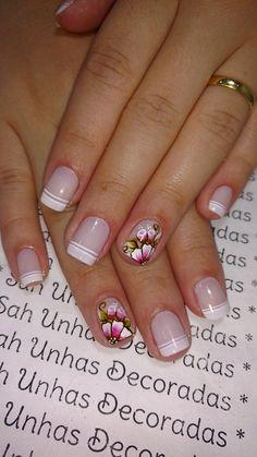 Gel French Manicure, French Manicure Designs, Gel Manicure, Pedicure, Nail Art Designs, Wedding Manicure, Ring Finger, Short Nails, Mandala Design