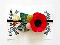 Felt Flower Headband Crown Hair Halo, Hair Flowers, Alice in Wonderland Red Quirky Flower, giddyupandgrow