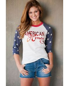 Women's American Honey Baseball Long Sleeve T-Shirt - White, http://www.countryoutfitter.com/womens-american-honey-baseball-long-sleeve-t-shirt---white/2314144.html#start=1&cgid=womens-clothing-tops-graphictees