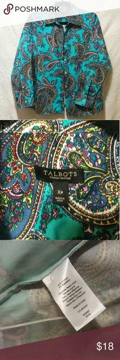 Talbots Woman shirt NWOT.  Gorgeous Paisley print!  Long sleeves, button cuff.  97% Cotton, 3% Elastane.  Button front.   Sz X petite. Talbots Woman Tops Button Down Shirts