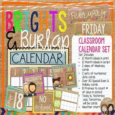 Looking for a stylish and simple way to display your classroom calendar? Our Brights & Burlap Classroom Calendar Set is your answer! It incorporates the current trend of bright colors and burlap into your classroom display and calendar routine! Included in this set: *12 month labels (block print) *12 month labels (script print) * 7 days of the week labels, 2 sizes (block print) * 7 days of the week labels, 2 sizes (script print) * 2 sets of date cards (1-31) * Over 8, Special Event&#x...