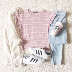 Casual outfit inspo for Valentines day Pastel Fashion, Cute Fashion, Fashion Outfits, Fashion Ideas, Casual Teen Fashion, Style Fashion, Fashion Styles, Korean Fashion Trends, Asian Fashion