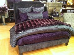 Z gallerie purple bedding, this is my exact bedding, except I have a black headboard and footboard and my blanket at the foot of the bed is light purple