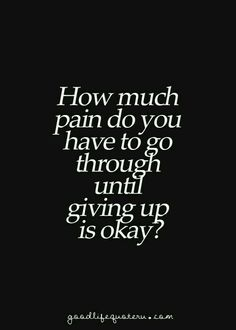 Another question is how much pain do you have to go through at the hands of other people before someone makes them stop