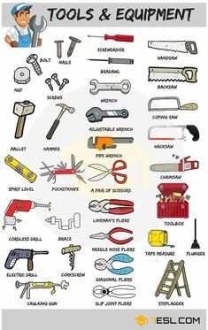 Learn Tools Vocabulary in English through Pictures and Examples. A tool is any physical item that can be used … Ucz Się Niemieckiego, Gramatyka Angielska, Angielskie Słownictwo, Hiszpański Learn English Grammar, English Writing Skills, English Vocabulary Words, Learn English Words, English Phrases, English Language Learning, English Study, English Lessons, Teaching English