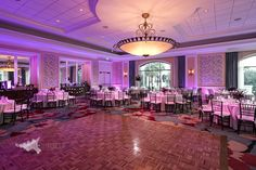 Wedding at Omni Orlando.  Soundwave Wall Wash LED Lighting in a pinky / purple hue~   Lighting by Soundwave, djsoundwave.net  Photo by Hughes Fioretti Photography   #soundwave #orlandoweddinglighting #orlandoLEDlighting #wedding #orlandowedding