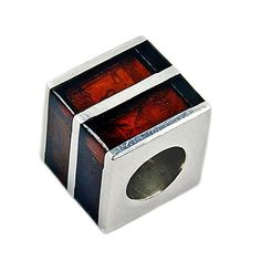 Sterling Silver Natural Cherry Baltic Amber Cube Bead For Charm Bracelets