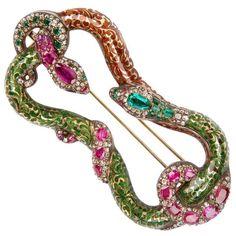 Emerald Ruby Diamond Snake Brooch circa 1830 For Sale