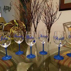 Custom Monogram Vinyl Wine Glass Decals Cell Phone Bridal