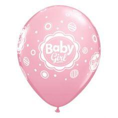 Retail: Bedrukte Latex Ballonnen Baby Girl Dots Roze (pink) 40 cm 6 stuks