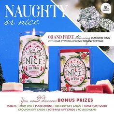 HAVE YOU BEEN NAUGHTY OR NICE??    Look what you can reveal in our latest candle release!   #naughty #nice #christmas #christmasshopping #candles #jewelry #jicnation #jewelryincandles #onceinabluemooncandleshoppe #naughtyornice