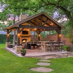 33 Admirable Modern Patio Design Ideas You Never Seen Before - A patio is just one element of a garden design, but it is one of the most expensive parts of any garden build. Because the patio fulfills several diff. Backyard Pavilion, Backyard Gazebo, Backyard Patio Designs, Backyard Landscaping, Backyard Ideas, Gazebo Ideas, Patio Ideas, Hammock Ideas, Garden Ideas