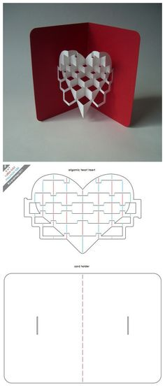 Love this 3-D popup heart card. - complete with pattern to create this homemade paper art card.