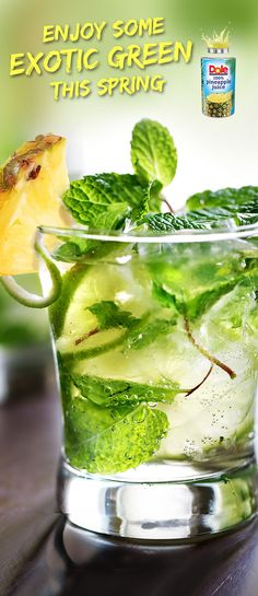 Pineapple Mojito!  An exotic twist  on the classic mojito. It's easy. Just try this recipe made  with 100% DOLE® Canned  Pineapple Juice. #KINGofJUICES