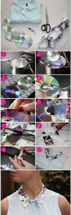 Consejo para decorar con un cd que ya no te funciona una hemosa blusa.