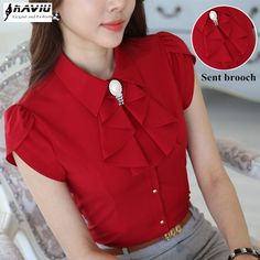 Cute Dresses, Tops, Shoes, Jewelry & Clothing for Women Red Blouses, Blouses For Women, Dress Neck Designs, Blouse Designs, Stil Inspiration, Vintage Inspired Dresses, Polka Dot Blouse, Blouse Online, Blouse Styles