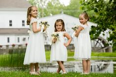 Flower girl wedding photo idea - how adorable are these three flower girls in their A-line dresses! {BTW Photography}