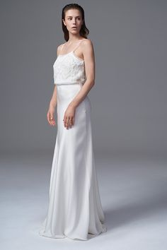 THE PHOEBE FRENCH BEADED LACE AND CHIFFON DRESS WITH SPAGHETTI STRAPS AND PUDDLE TRAIN. BRIDAL WEDDING DRESS BY HALFPENNY LONDON