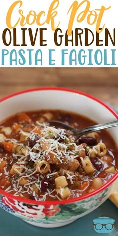 crock pot dinners This Crock Pot Olive Garden Pasta e Fagioli soup is the best recipe! Full of ground beef, pasta, veggies all in a flavorful Italian soup! Pasta Fagioli Crockpot, Pasta Fagioli Recipe, Slow Cooker Pasta, Pasta Soup, Slow Cooker Recipes, Cooking Recipes, Crockpot Meals, Steak Recipes, Copycat Recipes