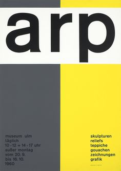 arp - skulpturen reliefs teppiche ... museum ulm 20.09.-16.10.1960 Entwurf Almir Mavignier, Deutschland 1960. Siebdruck Miller, Ulm. Größe 83,8 x 59,2 cm.