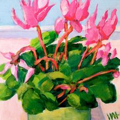 """""""Cyclamen"""" by Whitney Heavey First in a series of this nifty little plant that I picked up this week. Daily Painters, Flower Paintings, Little Plants, Nifty, Still Life, Flowers, Art, Paintings Of Flowers, Art Background"""