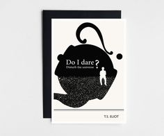 T.S. Eliot Blank Greeting Card, Black Envelope and Notecard, Literary Quote, Black