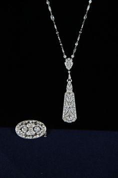 Pendant & Tiffany Diamond Necklace, ca. 1920  $30,000 Auction  –  $40,000 Auction