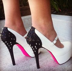 White and pink with black heel