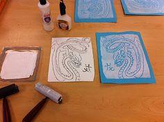 Acrylic paint + Crayola glue = printmaking ink!