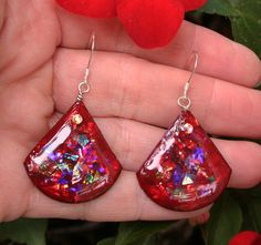 Bright Red Synthetic Opal Dangle Earrings with Blue, Green, Purple, Gold, Fire and Flash with Sterling Silver and Swarovski Crystals