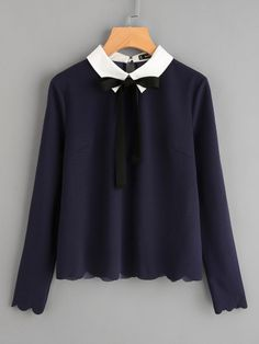 Shop Contrast Collar Tied Detail Scallop Trim Blouse online. SheIn offers Contrast Collar Tied Detail Scallop Trim Blouse & more to fit your fashionable needs.