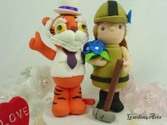 Custom Mascot Wedding Cake Topper - Love Clemson & Purdue College Mascot Couple with Circle Clear Base