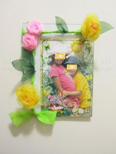 Quadros Decorados. Flores de Tecido (Organza). Artesanato e Reciclagem. Uma ótima prenda para as Madrinhas e para o Dia da Mãe.