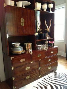 Vintage Campaign Dresser & Hutch