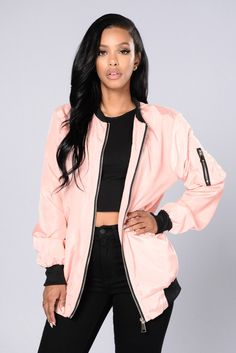 - Available in Black, Olive, and Pink - Knee Length Bomber Jacket - Front Pockets - Zipper Detail Sleeve - 100% Polyester