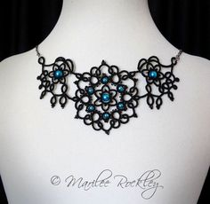 """Tatted lace necklace """"Art Nouveau"""" black"""