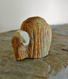 Alaska Eskimo Native Whale Bone Musk Ox Carving by Chris Aningayou