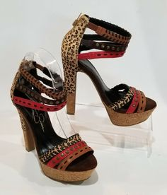 a1173f6382 Jessica Simpson High Heel Platform Sandal Shoes Size 5.5 Animal Print Brown  Red #JessicaSimpson #
