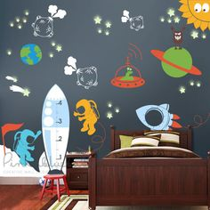- Detail - Size Outer Space Wall Playroom Decal for kids room. Decorate your kids room, daycare center, classroom or library with this decal set & the little one's will love it! MAIN LISTING COLOR SHO