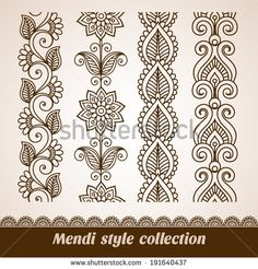 Find Vector Illustration Mehndi Pattern Set Seamless stock images in HD and millions of other royalty-free stock photos, illustrations and vectors in the Shutterstock collection. Mehndi Patterns, Doodle Patterns, Zentangle Patterns, Zentangles, Henna Kunst, Henna Art, Mandala Drawing, Mandala Art, Drawing Flowers