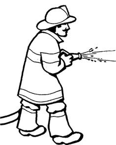 Fireman Spray Water Coloring Pages