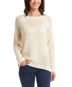 Look at this #zulilyfind! Ivory Lace-Accent Top by Simply Irresistible #zulilyfinds